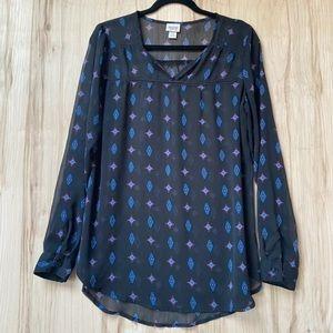 Mossimo black sheer boho blouse size large